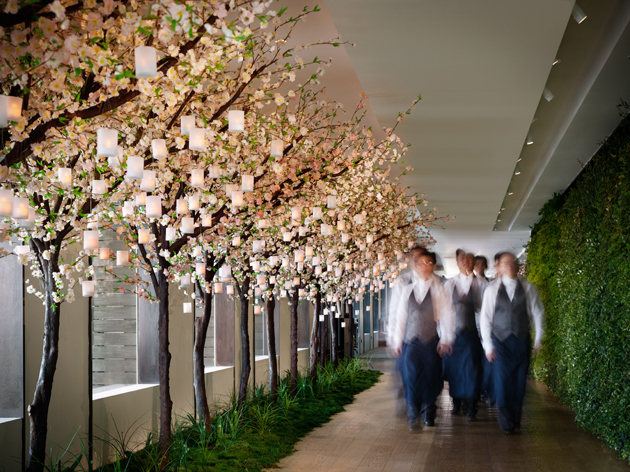 SEVVA Hallway with Trees and Waiters